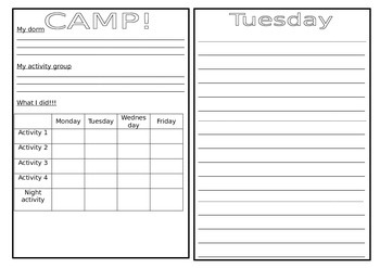 Camp booklet - recount writing