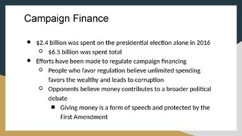 Campaign Financing PowerPoint, Guided Notes, and Completed Notes