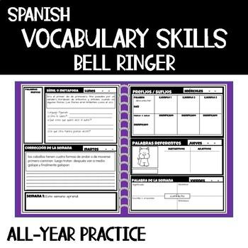 Campanadas de Vocabulario  Español / Vocabulary Bell Ringers Spanish Whole year