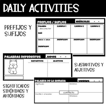 Vocabulary Bell Ringers Spanish All year / Actividades de Vocabulario diarias
