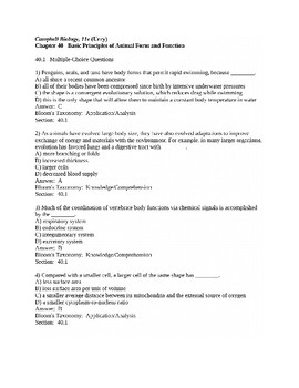 Campbell Bio, 11e (Urry) Chapters 36-40 AP Biology Review Questions