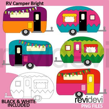 Camper clip art / RV camper bright colors clipart / Caravan clipart