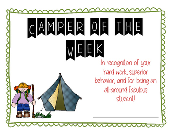 Camper of the Week Certificate