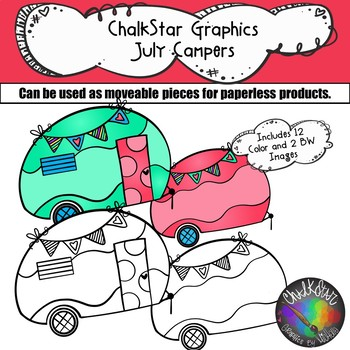 Campers July Clip Art –Chalkstar Graphics