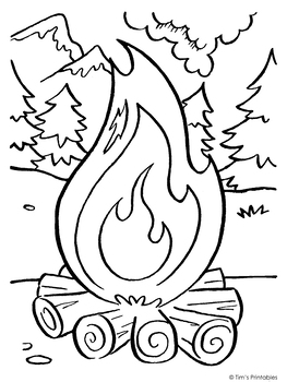 Campfire Coloring Page Pdf By Tims Printables Tpt