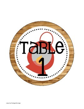 Camping Themed Classroom Table Numbers (only)