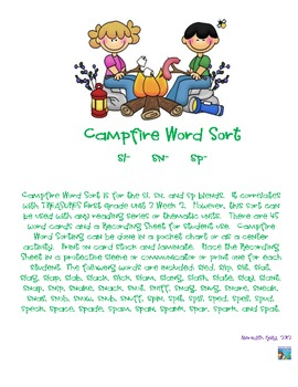Campfire Word Sort (sl, sn, sp)