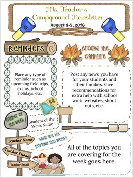 Campground Themed Class Newsletter