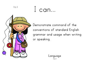 Camping 1st grade English Common core standards posters