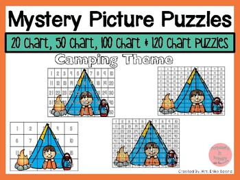 Camping 20, 50, 100 & 120 Chart Mystery Picture Puzzles