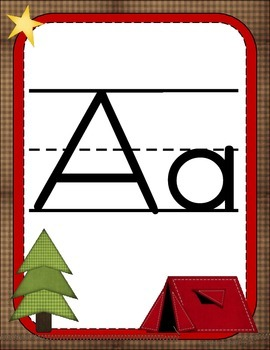 Camping ABC Line: Print and Cursive