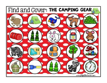 """Camping Activities:  """"Find and Cover"""""""