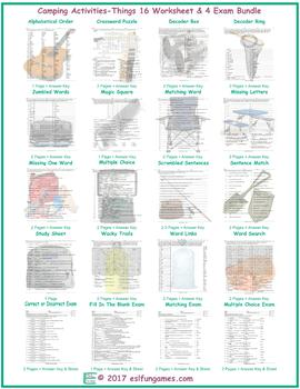 Camping Activities-Things 16 Worksheet- 4 Exam Bundle