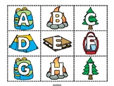 Camping Alphabet Matching Cards - Upper and Lower Case Letters
