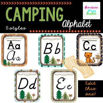 Camping- Alphabet (Print and Cursive)
