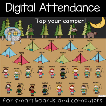 Camping Attendance PowerPoint (Interactive Whiteboards, Smartboard, Computers)