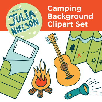 Camping Background And Clipart Set