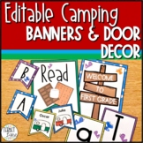 Back to School Camping Banners, Bulletin Board and Editable Door Decor