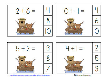 Camping Bears Addition Math Centers Bundle