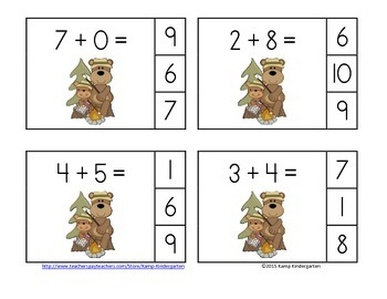 Camping Bears Addition Math Centers (Sums of 0 to 10)