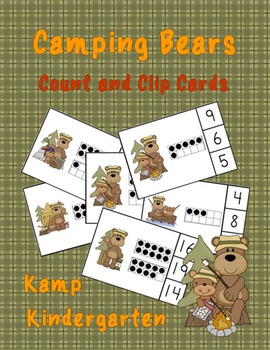 Camping Bears Count and Clip Cards (Quantities to 20)