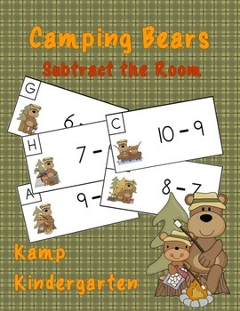 Camping Bears Subtract the Room (Minuends to 10)