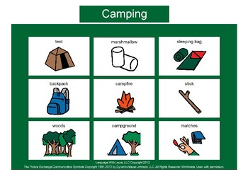 Camping Bingo! Single Board [speech therapy and autism]