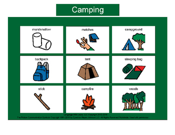 Camping Bingo! Multiple Boards [speech therapy and autism]