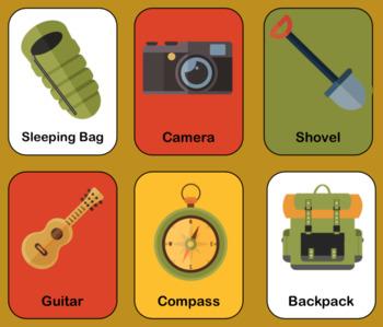Camping Bingo, Worksheets & Flashcards Set