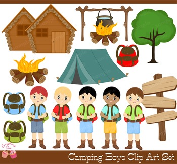 Camping Boys Summer Camp Clipart Set
