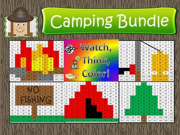 Camping Bundle Watch, Think, Color Games - EXPANDING BUNDLE Mystery Pictures