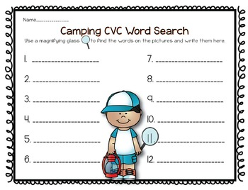 Camping CVC Word Search