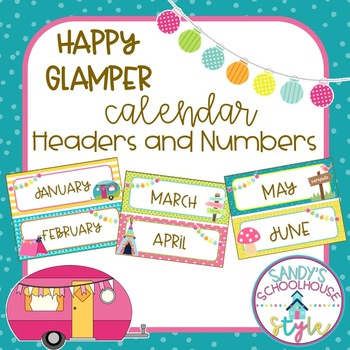 Camping Calendar Headers and Date Cards-Classroom Decor