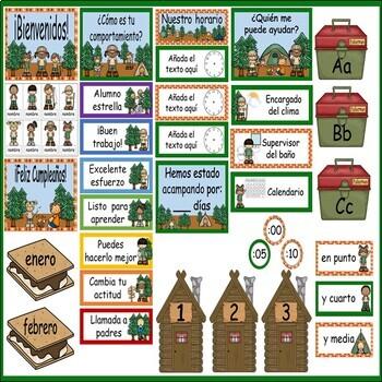 Camping Calendar Set and Classroom Decorations {Spanish Version}