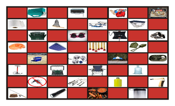 Camping Things and Activities Legal Size Photo Checkerboard Game
