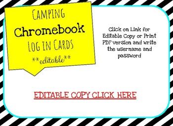 Camping Chromebook SIGN IN cards