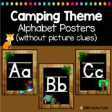 Camping Classroom Decor Alphabet Posters Manuscript Chalkboard