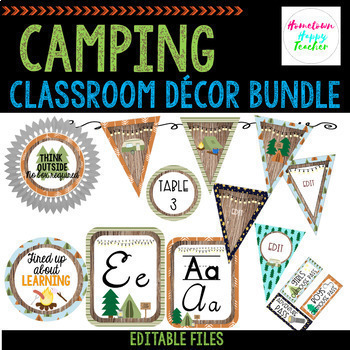 Camping Classroom Decor Bundle- Editable