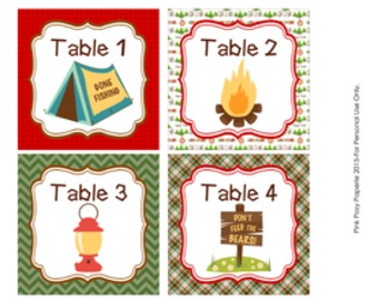 Camping Classroom Decor Table Numbers