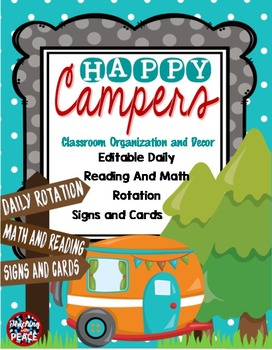Camping Classroom Theme Daily Reading & Math Rotation Sign