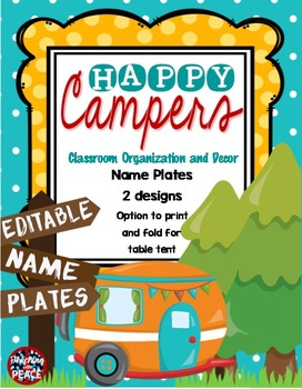 Camping Classroom Theme Name Plates *editable* FREEBIE!