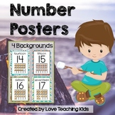 Camping Classroom Theme- Number Posters 0-20 with 10 frame