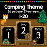 Camping Classroom Theme Number Posters 1-20 Chalkboard