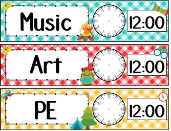 Camping Classroom Theme Schedule and Location Cards **editable**