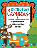 Camping Classroom Theme Subject Headers and Objectives Signs *editable*