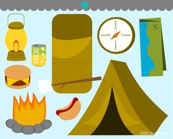 Boys camping scouts clipart commercial use