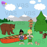 Camping Clip Art : Color and Line Art Illustrations