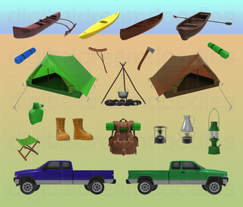 Camping Clip Art - Campground Equipment Digital Graphics