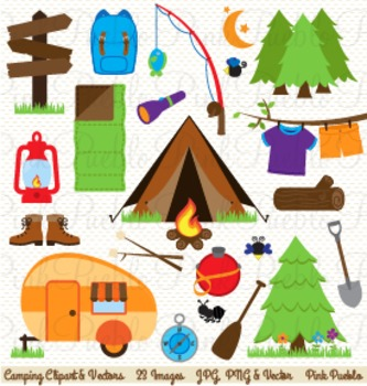 Camping Clip Art - Commercial and Personal Use
