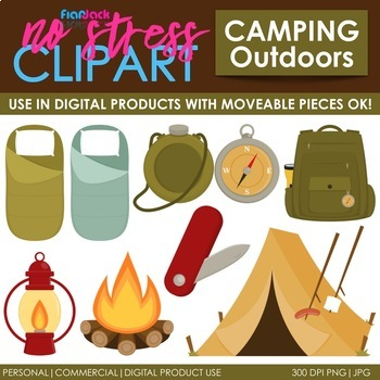 Camping Clip Art Dark Set (Digital Use Ok!)